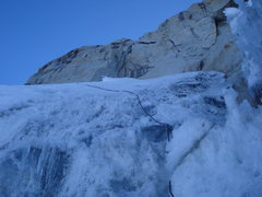 Rock Climbing Photo: The second pitch: a traverse to the left and then ...