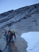 Rock Climbing Photo: Beginning the route at around 7am, with temperatur...