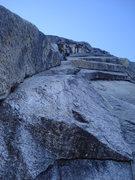 Rock Climbing Photo: Reaching a second belay station.