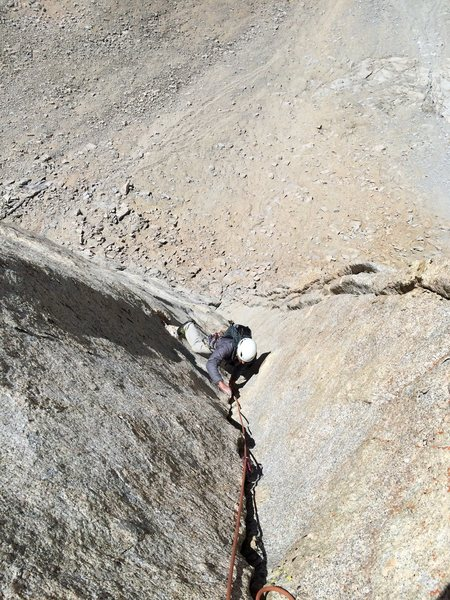 Rock Climbing Photo: Dave Russell following the beautiful P5 dihedral o...