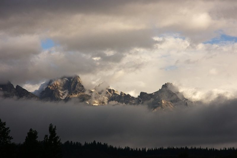 Tetons shrouded in clouds