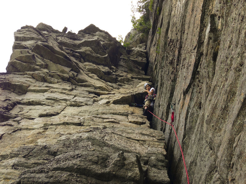 Jed trying his best (and succeeding) to make the crux pitch more difficult.