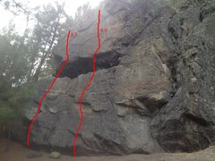 Rock Climbing Photo: Found these two bolted lines up on the hill past t...