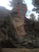 Rock Climbing Photo: Two bolted routes up on the hill behind the second...