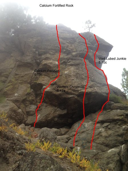 Calcium Fortified Rock located just past the secondary face.  Routes shown are: Calcium Fortified 5.10c (Left), Welfare Christmas 5.12a (Center), Well Lubed Junkie 5.10c (Right)