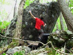 "Rock Climbing Photo: Parlier on the FA of ""Struttin'"" getting..."