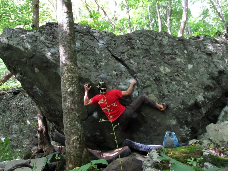 "FA of ""Rooster"" on the Rooster Boulder"