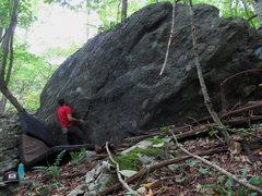 "Rock Climbing Photo: Craft Boulder, starting ""Bazinga"""