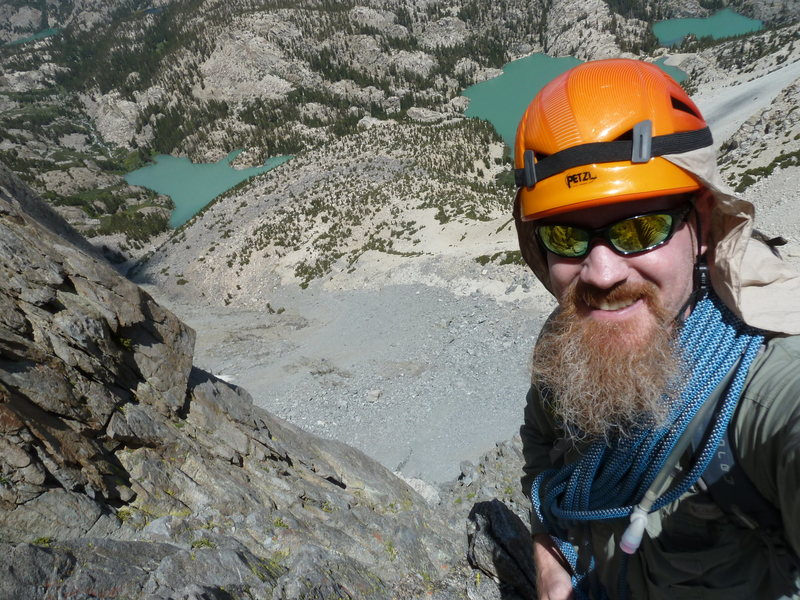1/4 the way up Moon Goddess Arete on Temple Crag (tent site at middle lake in the background)