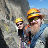 James & Dad on Moon Goddess Arete, Temple Crag about to start the simul-climbing section