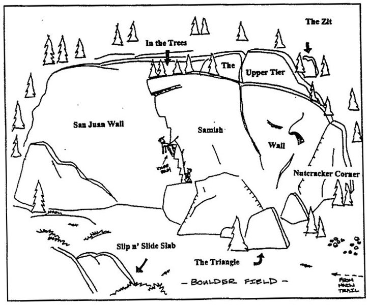 "Hand Drawn Topo of Oyster Dome (Bat Caves) from ""Bellingham Rocks"" by Jason Henrie"