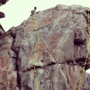Rock Climbing Photo: Strider follows the easy line just right of the cr...