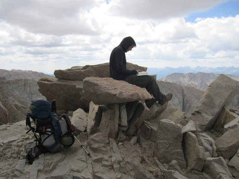 Looking for visual of trail ahead, base of Mt. Whitney after 99 switchbacks, continuing to Yosemite via the JMT.