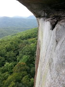 Rock Climbing Photo: View from anchors below the Peregrine Roof.