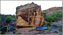 Rock Climbing Photo: Alleycat problem beta in yellow.