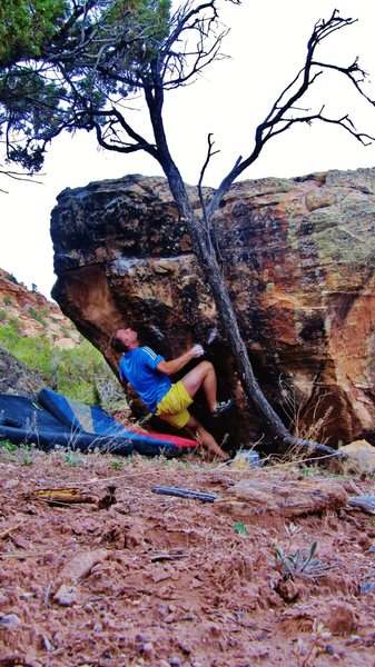 Rock Climbing Photo: Start beta of Ylem, also the likely crux.  It's a ...