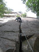 Rock Climbing Photo: this crack is on a detached pillar- to the right o...