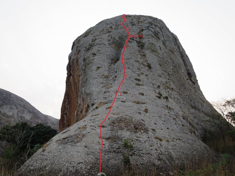 Topo of route.  Line follows central rib then crosses vertical face to left edge.  2nd pitch is foreshortened.  It's nearly 60m