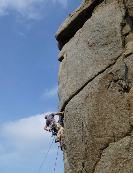 Unknown climber on Samson Arete (E2 6a), Sennen, Cornwall, England. September 2014. Photo by Martin Bennett