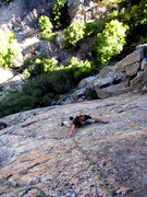Rock Climbing Photo: Lindsey on the upper reaches of Glass Ocean.