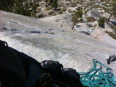 Rock Climbing Photo: Belaying my leader on Snakedike up Half Dome