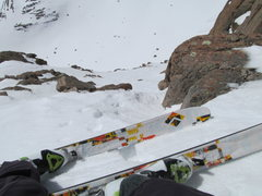 "Rock Climbing Photo: Skiing the ""3rd class"" descent route, cl..."