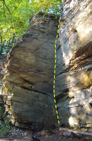 Rock Climbing Photo: Beta: Walk the crack up towards the V at the top.