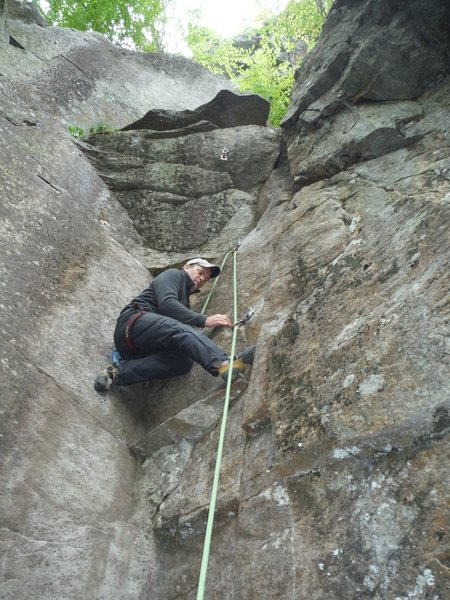 Dave Quinn on the second ascent of Mentally Disturbed