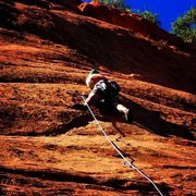 Rock Climbing Photo: Red Rock Canyon Open Space 5.8 (Slab climbing is t...