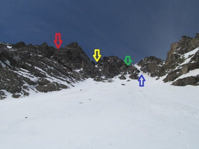 Looking up from the rock glacier moraine during the obese '13/'14 winter. <br> Red - Noxious Fumes.<br> Yellow - Canary Couloir.<br> Green - Tommy Knocker.<br> Blue - Gold Miner's Daughter.