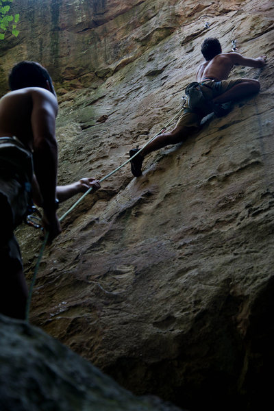 Me on Dreamscape (5.11c/d LEAD) in Sandrock, AL