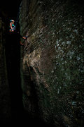 Rock Climbing Photo: Celia on Nothingness (5.9 Lead) in  Sandrock, AL