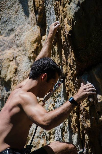 Rock Climbing Photo: Alex Thompson on Misty (5.10c) at Sandrock