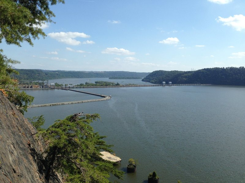 view of Safe Harbor Dam from the top of The Nose
