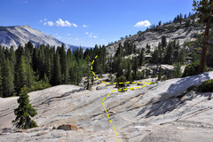 Rock Climbing Photo: Slabs leading downhill from the Olmsted Crack (V1)...