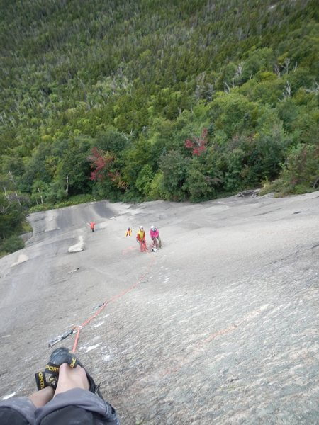 Leading up the super fun P3 (5.11), with our friends finishing P2 below.