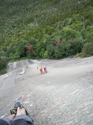 Rock Climbing Photo: Leading up the super fun P3 (5.11), with our frien...