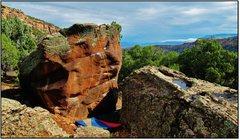 Rock Climbing Photo: The Sun Drains Heavy problem beta.