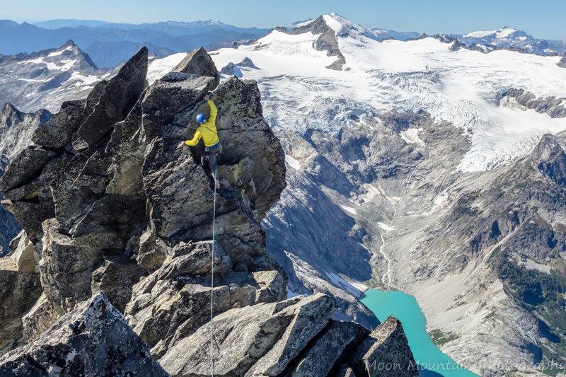 West Ridge of Forbidden Peak on Sept 20, 2014 near the top