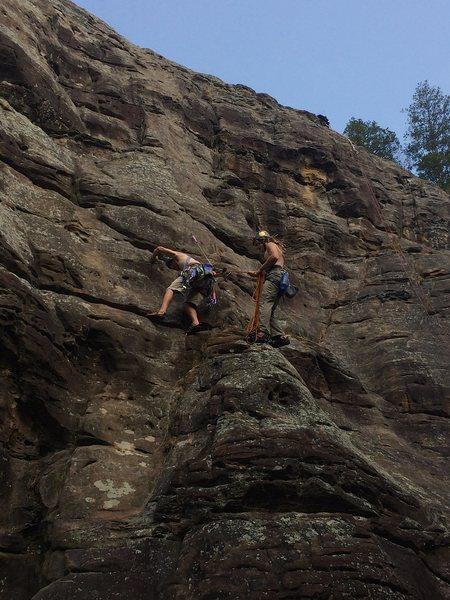 Rock Climbing Photo: Stevie J beginning the second pitch