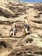 Rock Climbing Photo: Stevie J getting the low down for pitch 2