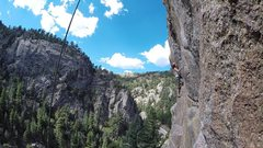Rock Climbing Photo: Climber on Cannabis Sportiva as viewed from Joint ...