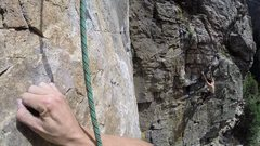 Rock Climbing Photo: Climber on Animation as viewed from Joint Venture.