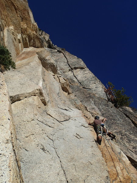 Michal leading the crux pitch of Freedom Rider