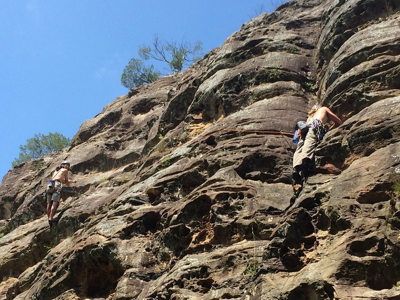 Rock Climbing Photo: Heady Spuds wishing Stevie J placed more gear