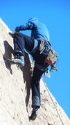 "Rock Climbing Photo: Pulling the steep crux bulge of ""Yellow Rose ..."