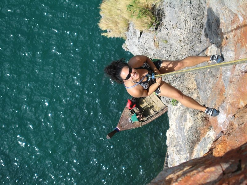Rappel from Ao Nang Tower, Thailand.