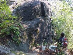 Rock Climbing Photo: Start and belay spot of the GS-3 (5.8)