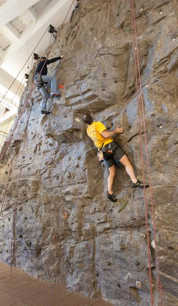 Rock Climbing Photo: Climbers on the Keene Family YMCA's artificial gra...