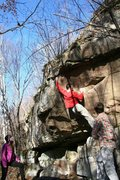 Rock Climbing Photo: James on unknown V2. On the trail just before reac...